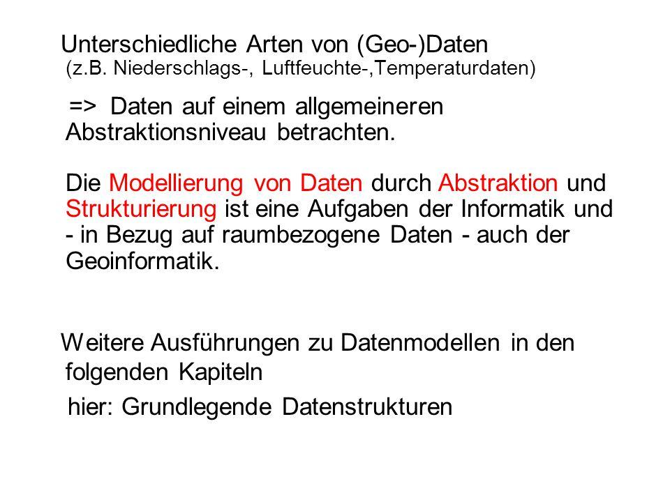 Unterschiedliche Arten von (Geo-)Daten (z.B. Niederschlags-, Luftfeuchte-,Temperaturdaten) => Daten auf einem allgemeineren Abstraktionsniveau betrach