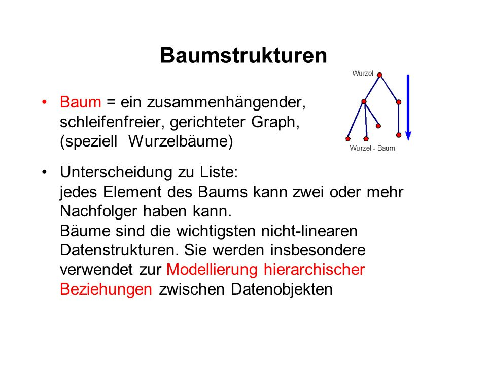 Baumstrukturen Baum = ein zusammenhängender, schleifenfreier, gerichteter Graph, (speziell Wurzelbäume) Unterscheidung zu Liste: jedes Element des Bau