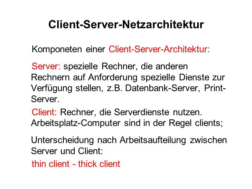 Client-Server-Netzarchitektur Komponeten einer Client-Server-Architektur: Server: spezielle Rechner, die anderen Rechnern auf Anforderung spezielle Di