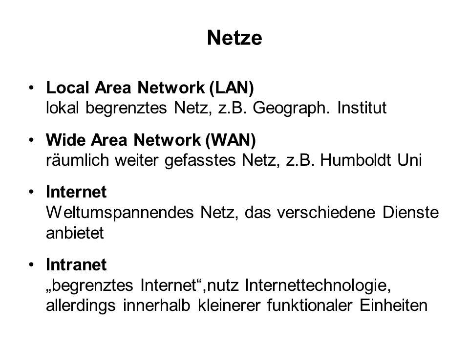 Netze Local Area Network (LAN) lokal begrenztes Netz, z.B. Geograph. Institut Wide Area Network (WAN) räumlich weiter gefasstes Netz, z.B. Humboldt Un