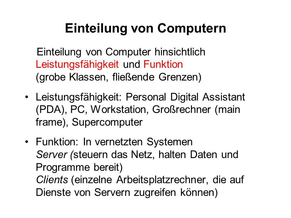 Einteilung von Computern Einteilung von Computer hinsichtlich Leistungsfähigkeit und Funktion (grobe Klassen, fließende Grenzen) Leistungsfähigkeit: P