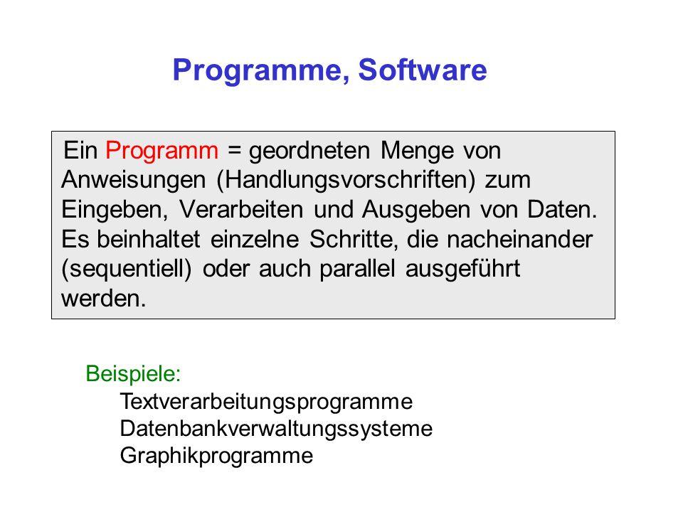 Ein Programm = geordneten Menge von Anweisungen (Handlungsvorschriften) zum Eingeben, Verarbeiten und Ausgeben von Daten. Es beinhaltet einzelne Schri