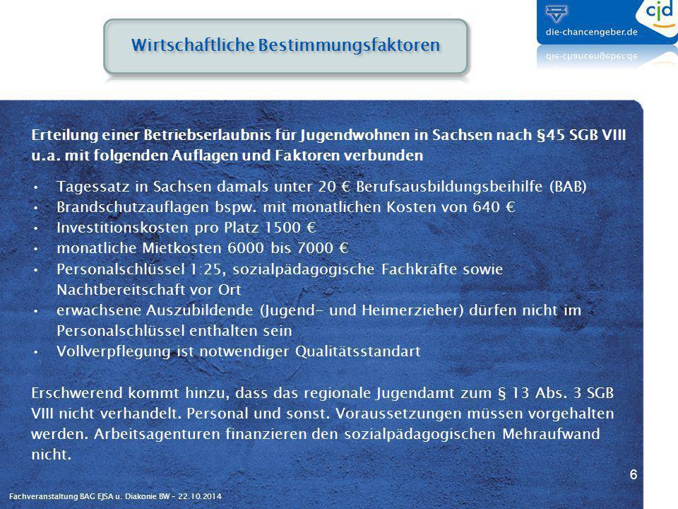Fachveranstaltung BAG EJSA u. Diakonie BW – 22.10.2014 Erteilung einer Betriebserlaubnis für Jugendwohnen in Sachsen nach §45 SGB VIII u.a. mit folgen