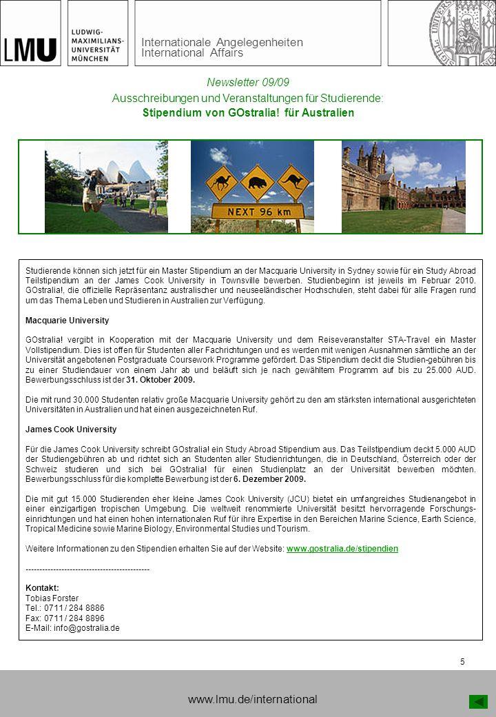 Internationale Angelegenheiten International Affairs 5 Ausschreibungen und Veranstaltungen für Studierende: Stipendium von GOstralia! für Australien S