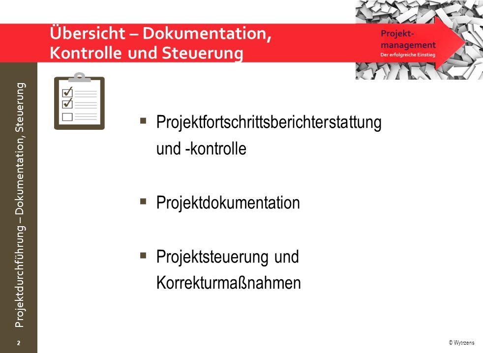 © Wytrzens Projektdurchführung – Dokumentation, Steuerung Übersicht – Dokumentation, Kontrolle und Steuerung  Projektfortschrittsberichterstattung und -kontrolle  Projektdokumentation  Projektsteuerung und Korrekturmaßnahmen 2