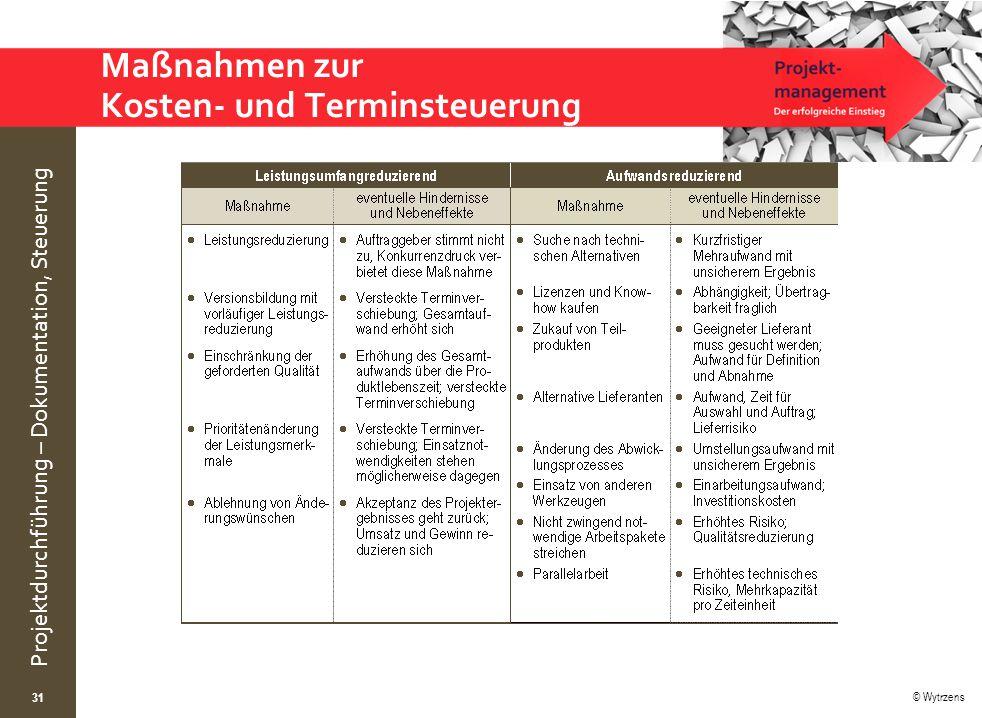 © Wytrzens Projektdurchführung – Dokumentation, Steuerung Maßnahmen zur Kosten- und Terminsteuerung 31