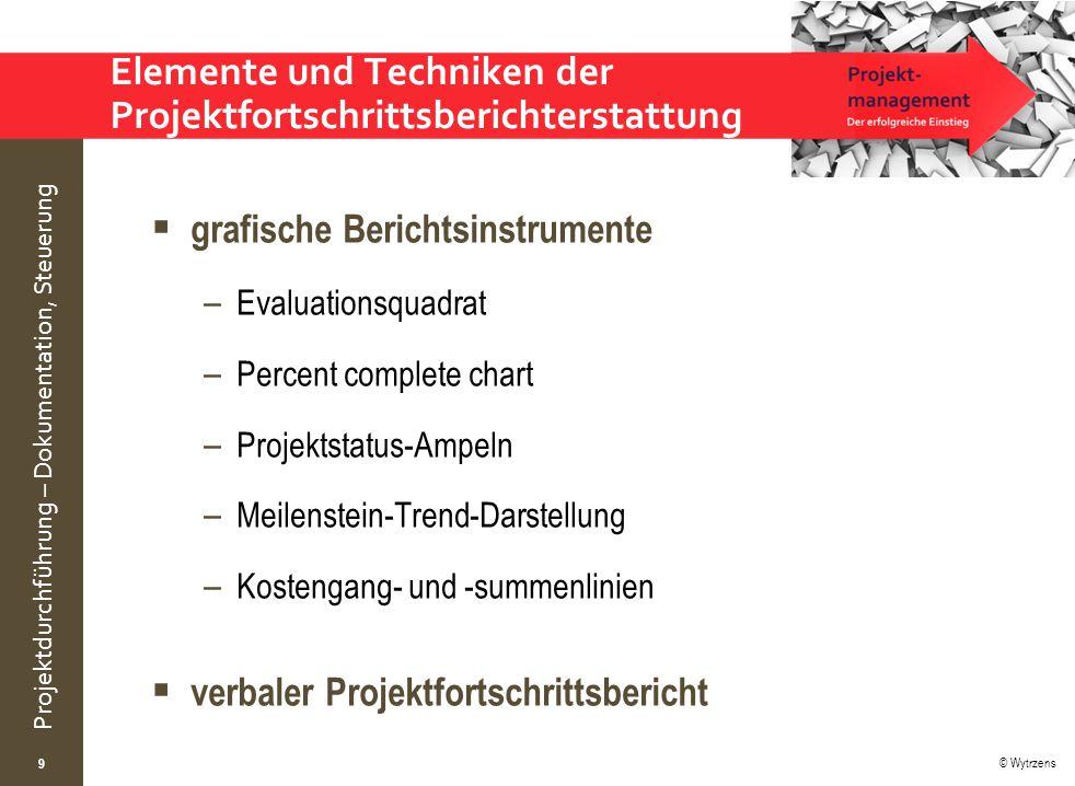 © Wytrzens Projektdurchführung – Dokumentation, Steuerung Elemente und Techniken der Projektfortschrittsberichterstattung  grafische Berichtsinstrume