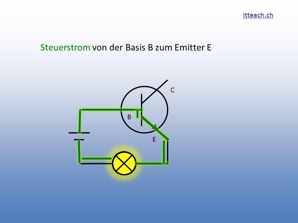 itteach.ch Steuerstrom von der Basis B zum Emitter E C B E