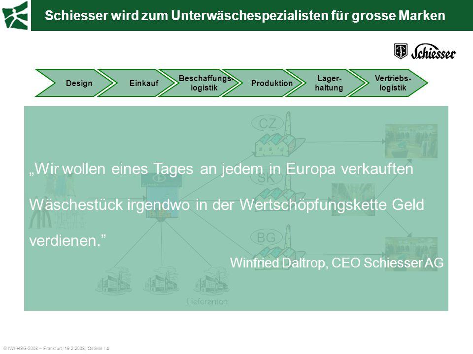 """© IWI-HSG-2008 – Frankfurt, 19.2.2008, Österle / 4 Schiesser wird zum Unterwäschespezialisten für grosse Marken CZSKBG Lieferanten """"Wir wollen eines T"""