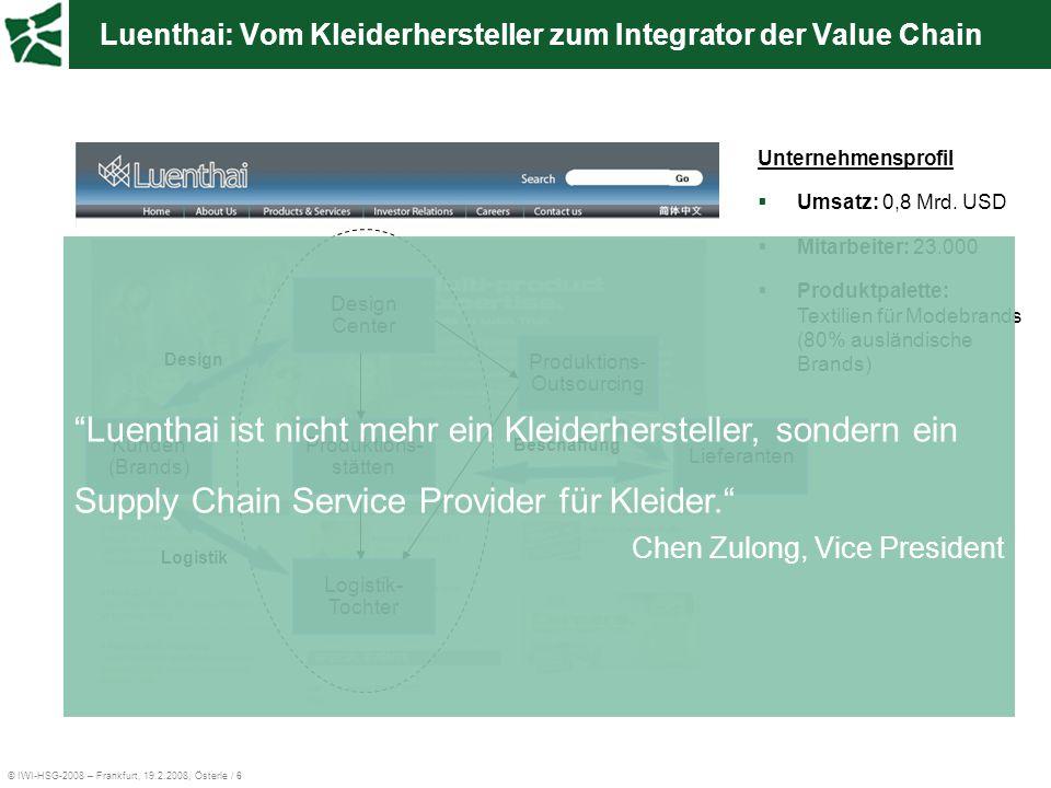 © IWI-HSG-2008 – Frankfurt, 19.2.2008, Österle / 6 Luenthai: Vom Kleiderhersteller zum Integrator der Value Chain Unternehmensprofil  Umsatz: 0,8 Mrd
