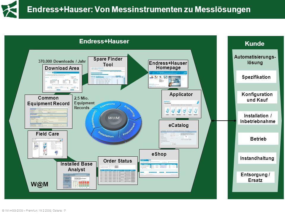 © IWI-HSG-2008 – Frankfurt, 19.2.2008, Österle / 7 Endress+Hauser: Von Messinstrumenten zu Messlösungen Konfiguration und Kauf Betrieb Entsorgung / Er