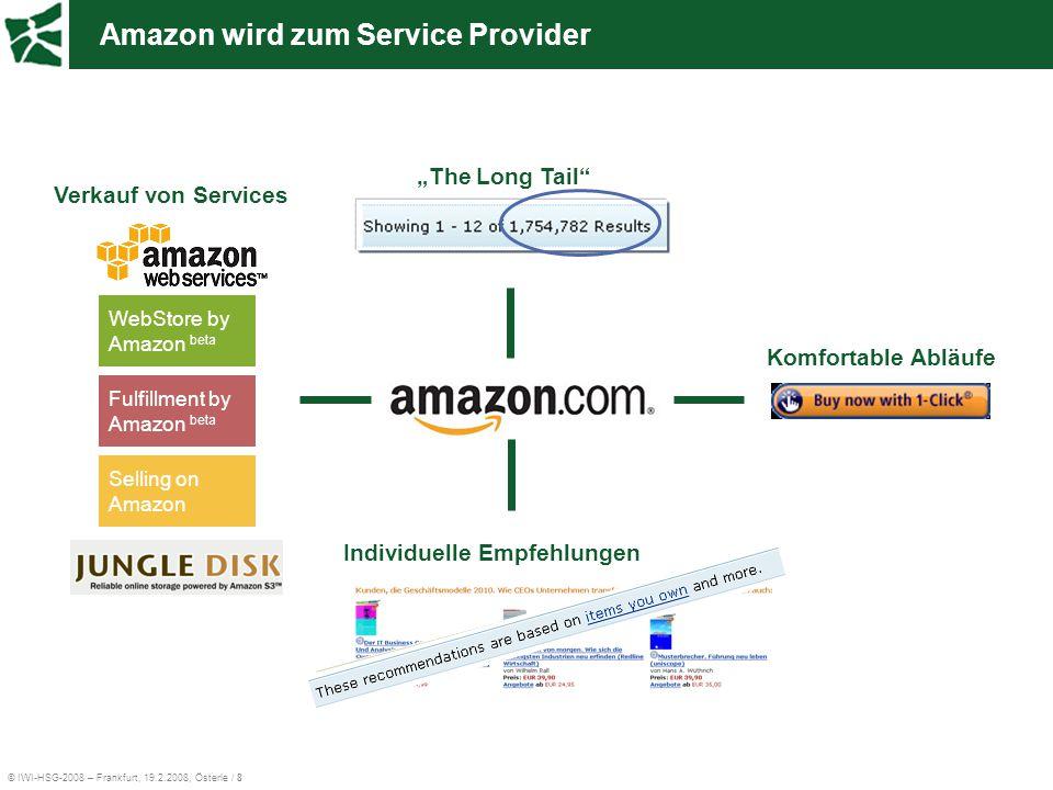 """© IWI-HSG-2008 – Frankfurt, 19.2.2008, Österle / 8 Amazon wird zum Service Provider Komfortable Abläufe Individuelle Empfehlungen """"The Long Tail"""" WebS"""