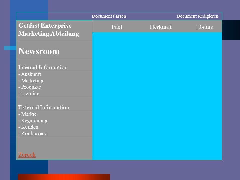 Getfast Enterprise Marketing Abteilung * Newsroom * Extern Information * Intern Information