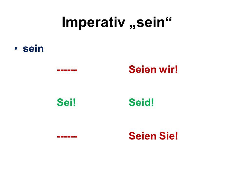 """Imperativ """"sein"""" sein ------Seien wir! Sei!Seid! ------Seien Sie!"""