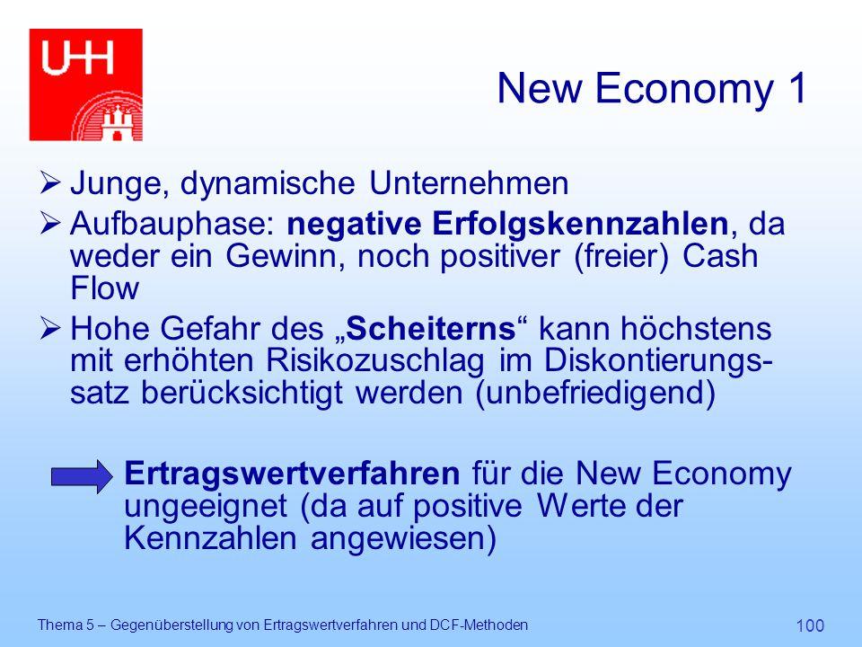 Thema 5 – Gegenüberstellung von Ertragswertverfahren und DCF-Methoden 100 New Economy 1  Junge, dynamische Unternehmen  Aufbauphase: negative Erfolg