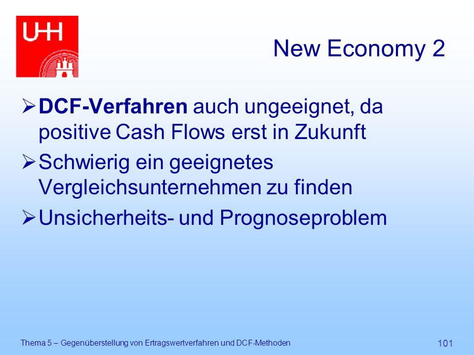 Thema 5 – Gegenüberstellung von Ertragswertverfahren und DCF-Methoden 101 New Economy 2  DCF-Verfahren auch ungeeignet, da positive Cash Flows erst i