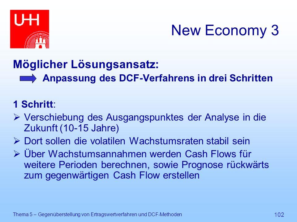 Thema 5 – Gegenüberstellung von Ertragswertverfahren und DCF-Methoden 102 New Economy 3 Möglicher Lösungsansatz: Anpassung des DCF-Verfahrens in drei