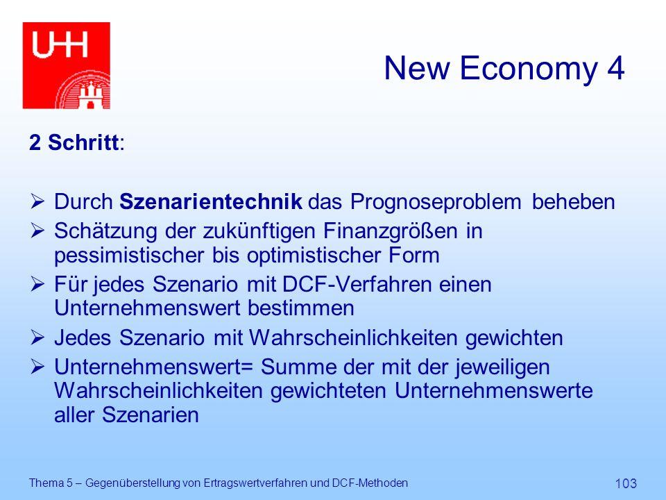 Thema 5 – Gegenüberstellung von Ertragswertverfahren und DCF-Methoden 103 New Economy 4 2 Schritt:  Durch Szenarientechnik das Prognoseproblem behebe