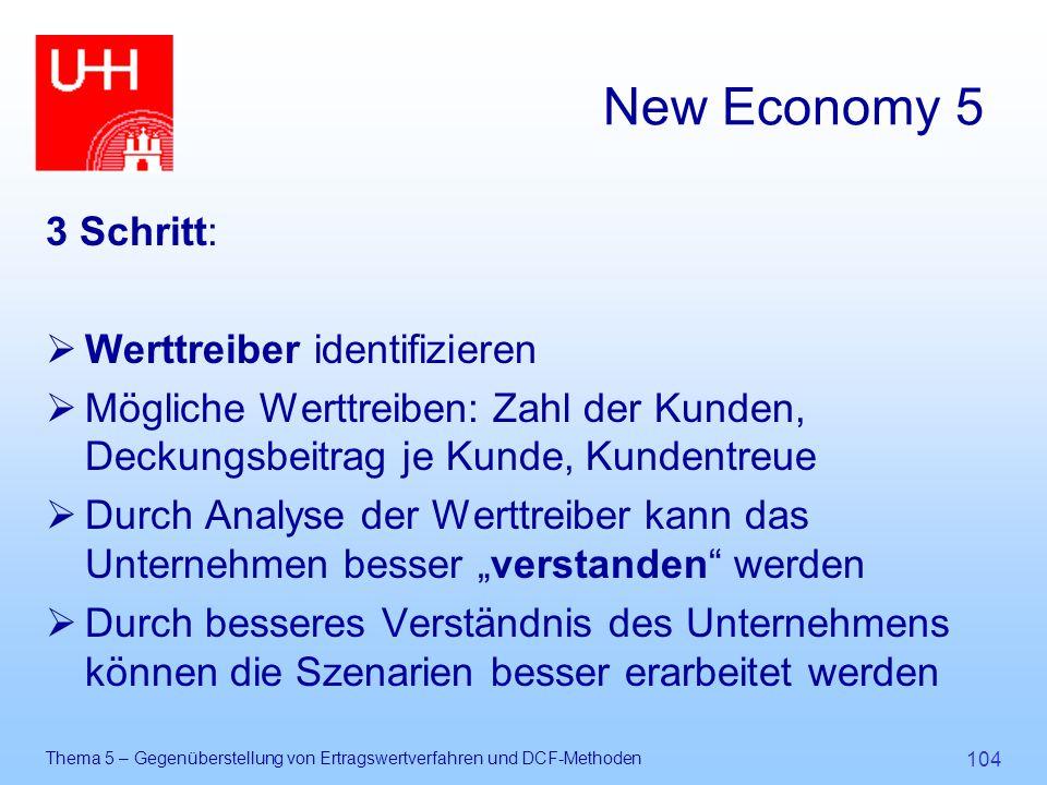 Thema 5 – Gegenüberstellung von Ertragswertverfahren und DCF-Methoden 104 New Economy 5 3 Schritt:  Werttreiber identifizieren  Mögliche Werttreiben