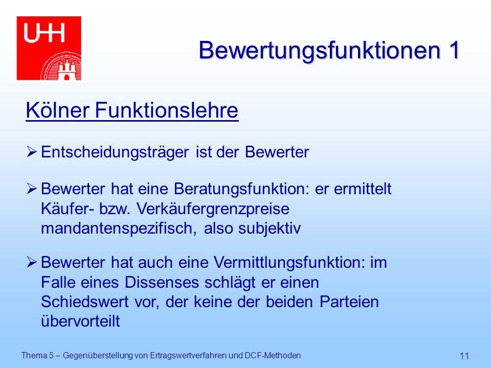 Thema 5 – Gegenüberstellung von Ertragswertverfahren und DCF-Methoden 11 Bewertungsfunktionen 1 Kölner Funktionslehre  Entscheidungsträger ist der Be