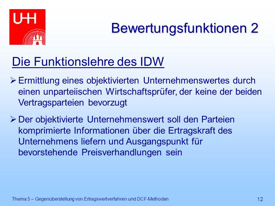 Thema 5 – Gegenüberstellung von Ertragswertverfahren und DCF-Methoden 12 Bewertungsfunktionen 2 Die Funktionslehre des IDW  Ermittlung eines objektiv