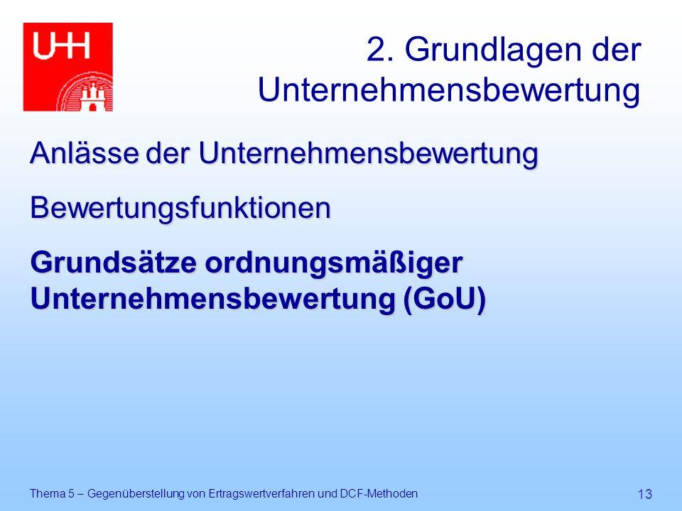 Thema 5 – Gegenüberstellung von Ertragswertverfahren und DCF-Methoden 13 2. Grundlagen der Unternehmensbewertung Anlässe der Unternehmensbewertung Bew