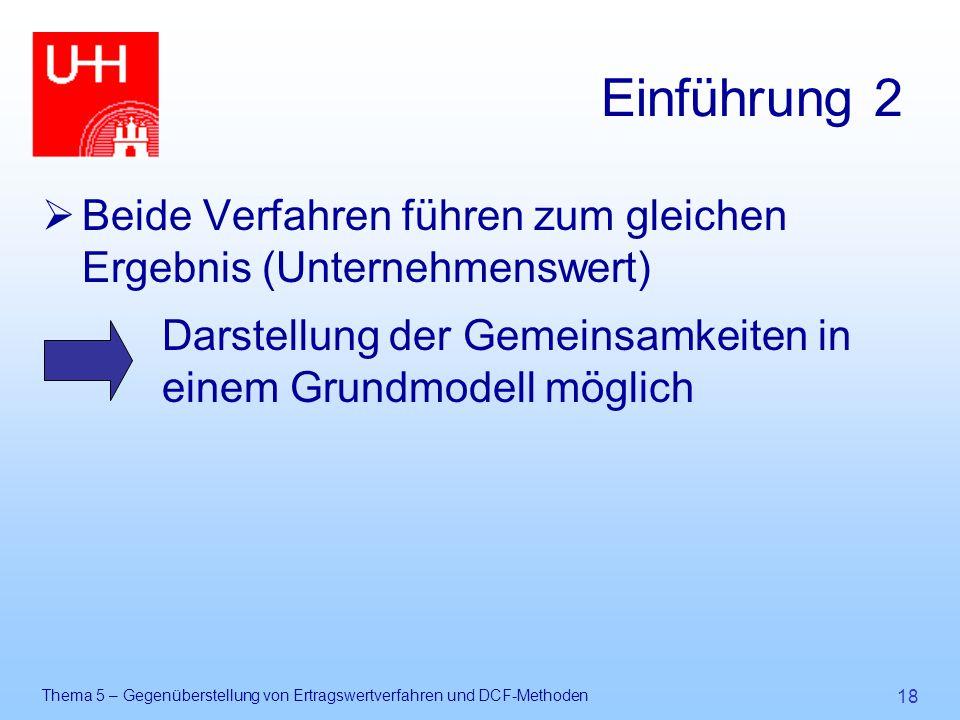 Thema 5 – Gegenüberstellung von Ertragswertverfahren und DCF-Methoden 18 Einführung 2  Beide Verfahren führen zum gleichen Ergebnis (Unternehmenswert