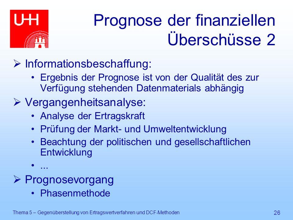 Thema 5 – Gegenüberstellung von Ertragswertverfahren und DCF-Methoden 26 Prognose der finanziellen Überschüsse 2  Informationsbeschaffung: Ergebnis d