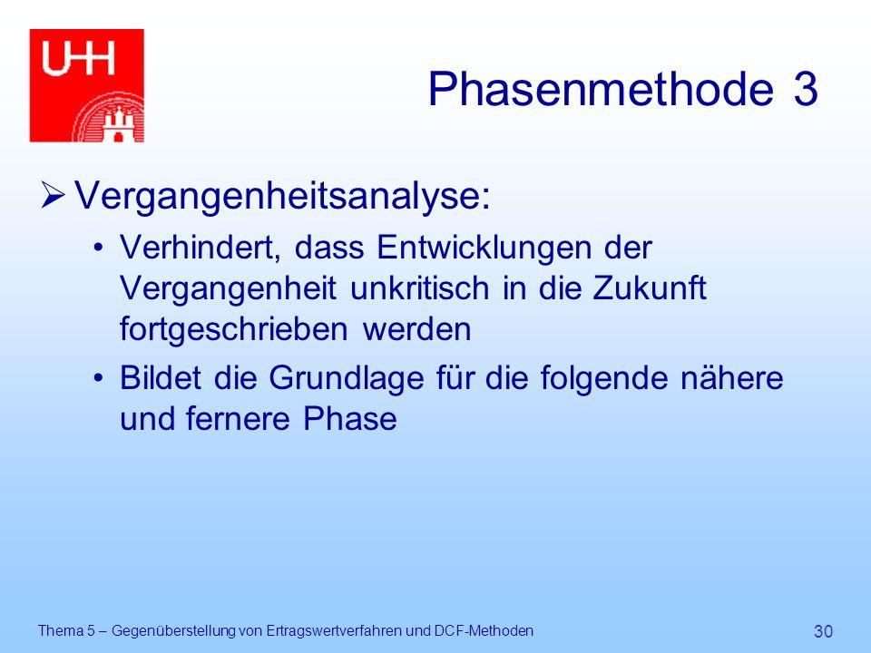 Thema 5 – Gegenüberstellung von Ertragswertverfahren und DCF-Methoden 30 Phasenmethode 3  Vergangenheitsanalyse: Verhindert, dass Entwicklungen der V