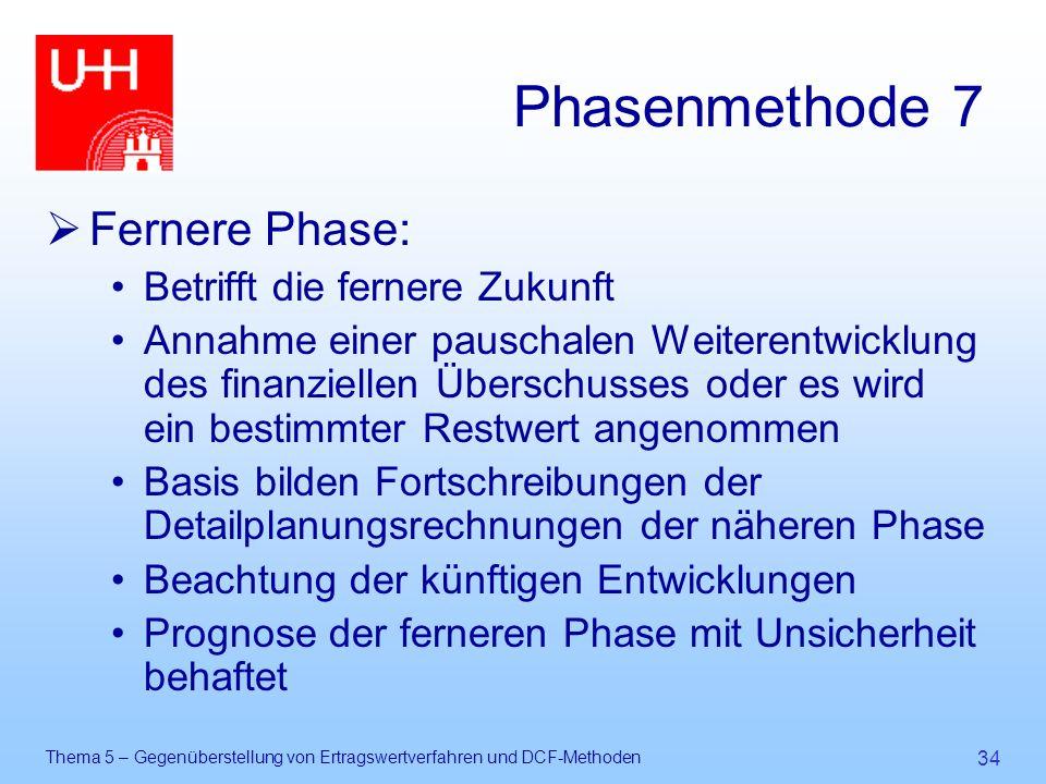 Thema 5 – Gegenüberstellung von Ertragswertverfahren und DCF-Methoden 34 Phasenmethode 7  Fernere Phase: Betrifft die fernere Zukunft Annahme einer p