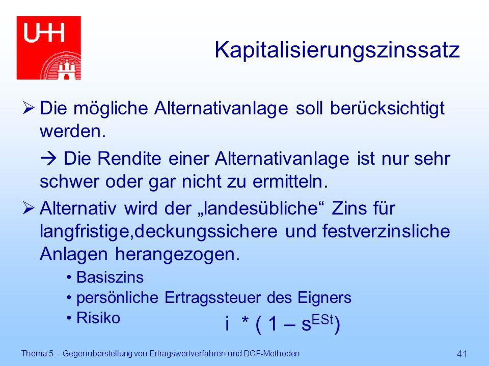 Thema 5 – Gegenüberstellung von Ertragswertverfahren und DCF-Methoden 41 Kapitalisierungszinssatz  Die mögliche Alternativanlage soll berücksichtigt