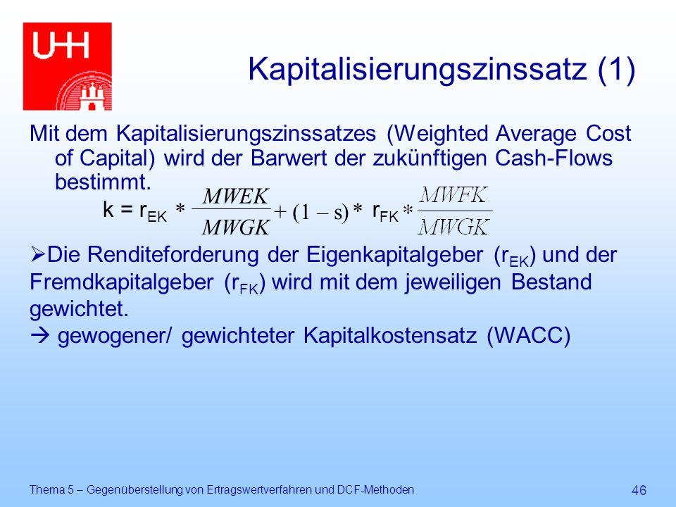 Thema 5 – Gegenüberstellung von Ertragswertverfahren und DCF-Methoden 46 Kapitalisierungszinssatz (1) Mit dem Kapitalisierungszinssatzes (Weighted Ave