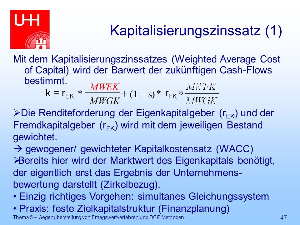 Thema 5 – Gegenüberstellung von Ertragswertverfahren und DCF-Methoden 47 Kapitalisierungszinssatz (1) Mit dem Kapitalisierungszinssatzes (Weighted Ave