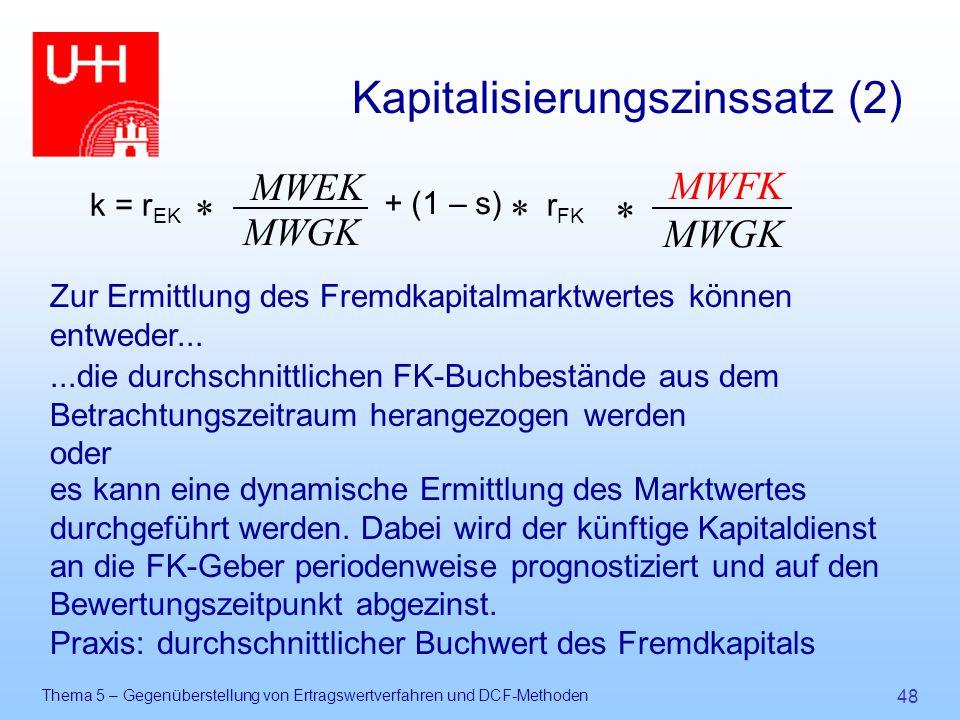 Thema 5 – Gegenüberstellung von Ertragswertverfahren und DCF-Methoden 48 Kapitalisierungszinssatz (2) Zur Ermittlung des Fremdkapitalmarktwertes könne