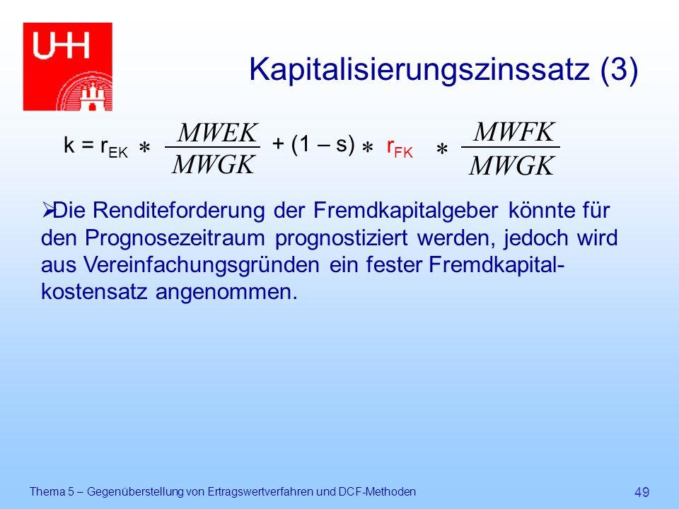 Thema 5 – Gegenüberstellung von Ertragswertverfahren und DCF-Methoden 49 Kapitalisierungszinssatz (3)  Die Renditeforderung der Fremdkapitalgeber kön