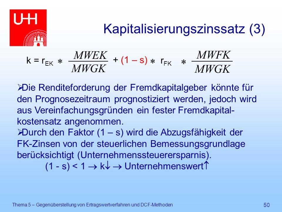 Thema 5 – Gegenüberstellung von Ertragswertverfahren und DCF-Methoden 50 Kapitalisierungszinssatz (3) k = r EK  + (1 – s)  MWGK MWEK r FK MWGK MWFK