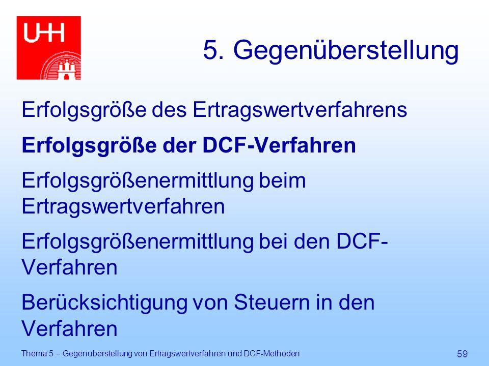 Thema 5 – Gegenüberstellung von Ertragswertverfahren und DCF-Methoden 59 5. Gegenüberstellung Erfolgsgröße des Ertragswertverfahrens Erfolgsgröße der