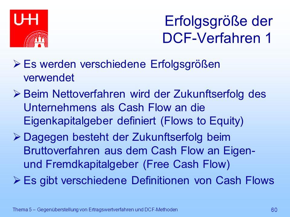 Thema 5 – Gegenüberstellung von Ertragswertverfahren und DCF-Methoden 60 Erfolgsgröße der DCF-Verfahren 1  Es werden verschiedene Erfolgsgrößen verwe