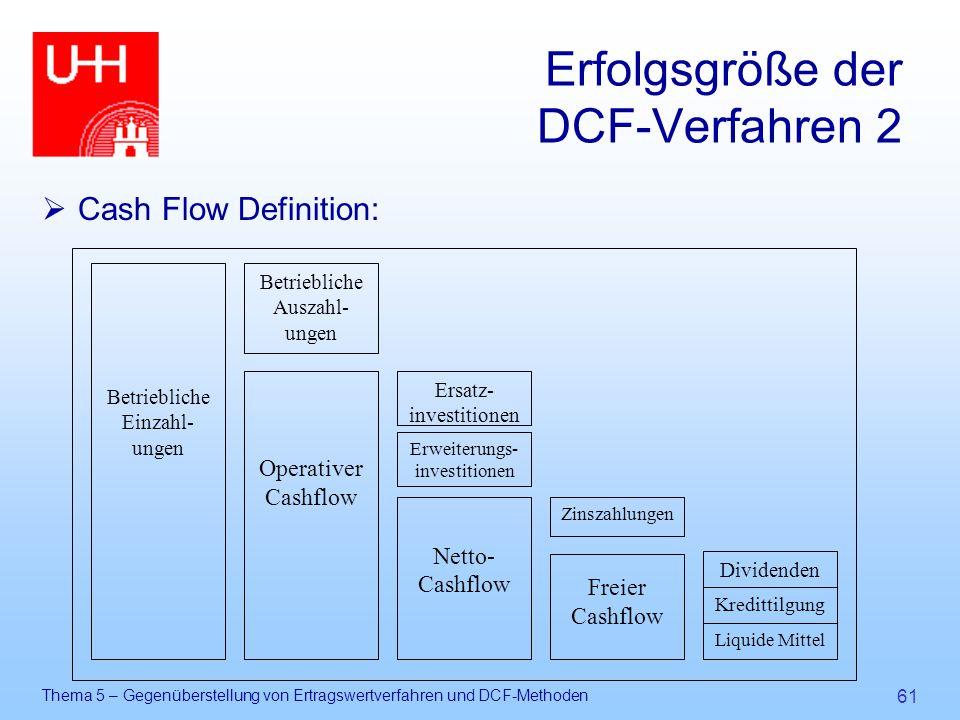 Thema 5 – Gegenüberstellung von Ertragswertverfahren und DCF-Methoden 61 Erfolgsgröße der DCF-Verfahren 2  Cash Flow Definition: Betriebliche Einzahl