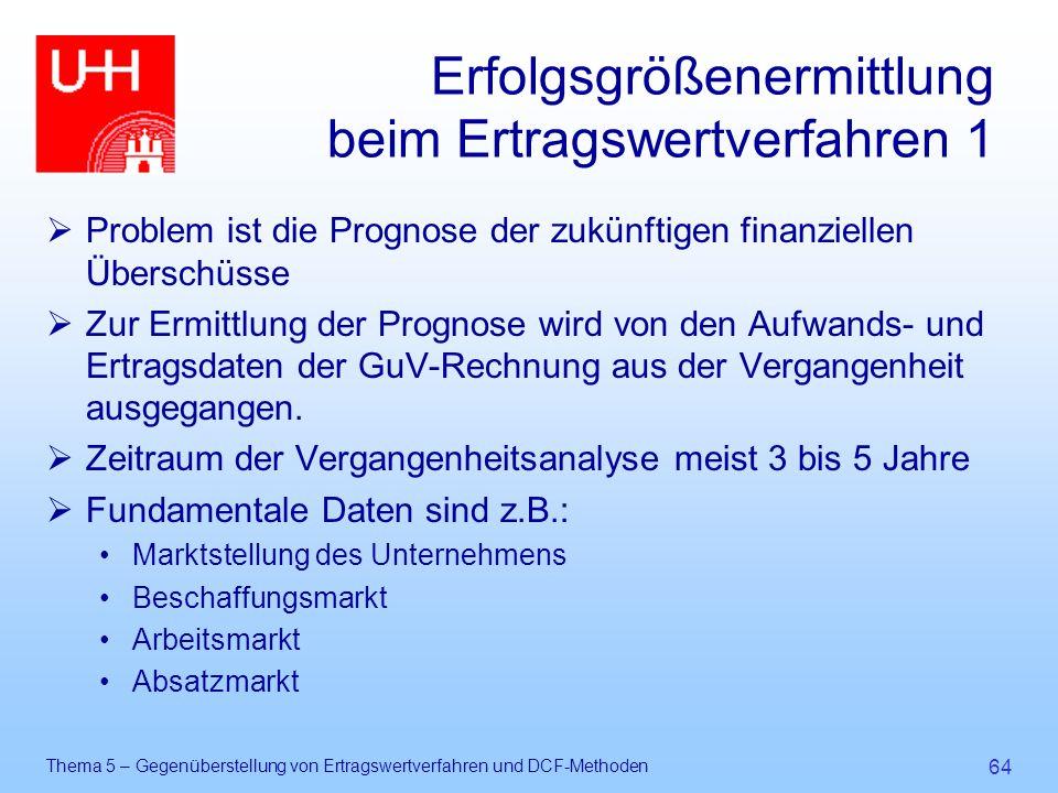 Thema 5 – Gegenüberstellung von Ertragswertverfahren und DCF-Methoden 64 Erfolgsgrößenermittlung beim Ertragswertverfahren 1  Problem ist die Prognos
