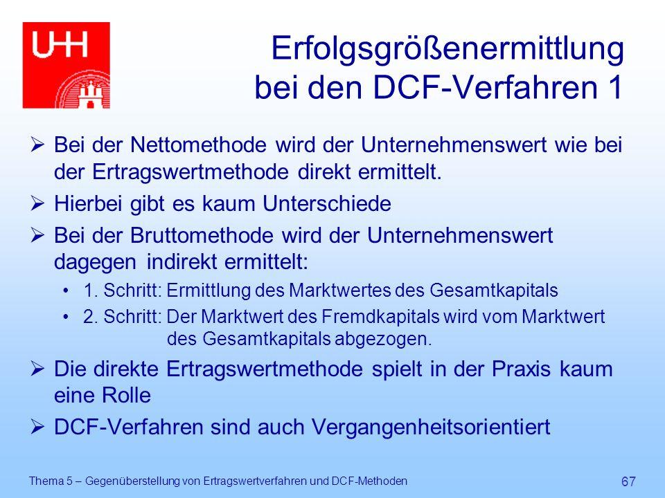 Thema 5 – Gegenüberstellung von Ertragswertverfahren und DCF-Methoden 67 Erfolgsgrößenermittlung bei den DCF-Verfahren 1  Bei der Nettomethode wird d