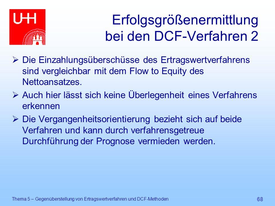 Thema 5 – Gegenüberstellung von Ertragswertverfahren und DCF-Methoden 68 Erfolgsgrößenermittlung bei den DCF-Verfahren 2  Die Einzahlungsüberschüsse