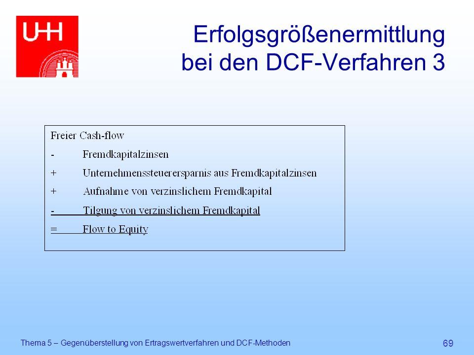 Thema 5 – Gegenüberstellung von Ertragswertverfahren und DCF-Methoden 69 Erfolgsgrößenermittlung bei den DCF-Verfahren 3