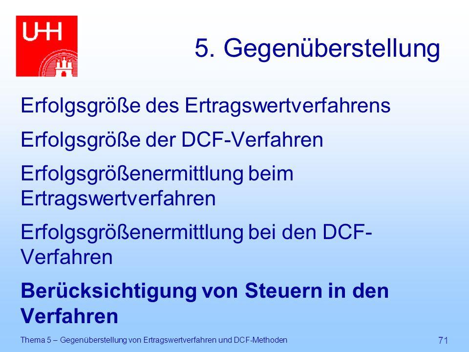 Thema 5 – Gegenüberstellung von Ertragswertverfahren und DCF-Methoden 71 5. Gegenüberstellung Erfolgsgröße des Ertragswertverfahrens Erfolgsgröße der