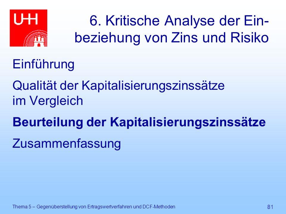 Thema 5 – Gegenüberstellung von Ertragswertverfahren und DCF-Methoden 81 6. Kritische Analyse der Ein- beziehung von Zins und Risiko Einführung Qualit