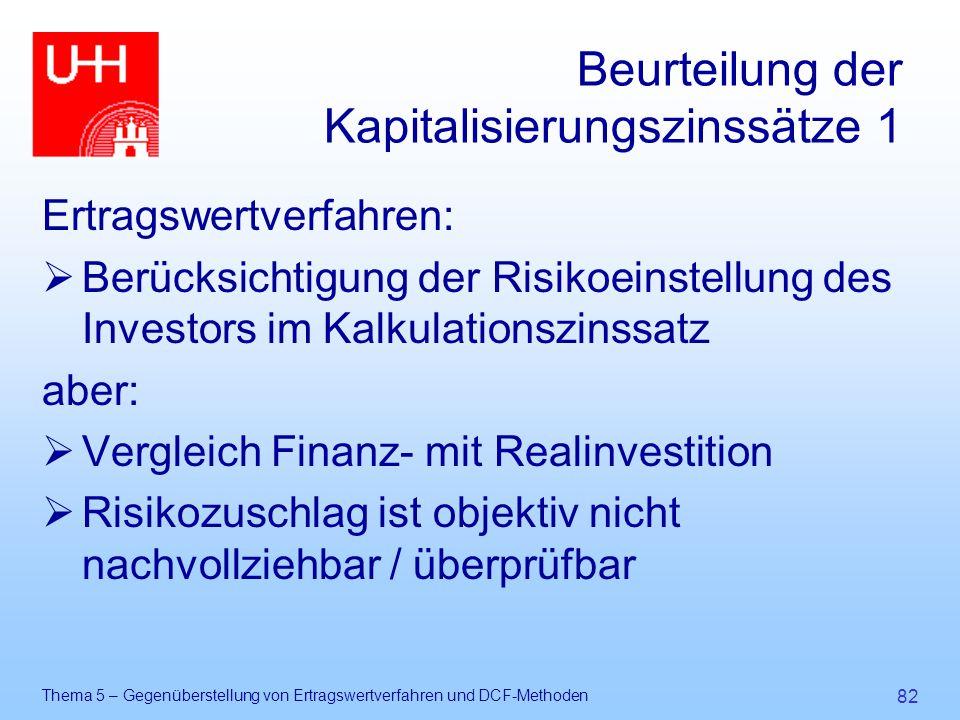 Thema 5 – Gegenüberstellung von Ertragswertverfahren und DCF-Methoden 82 Beurteilung der Kapitalisierungszinssätze 1 Ertragswertverfahren:  Berücksic