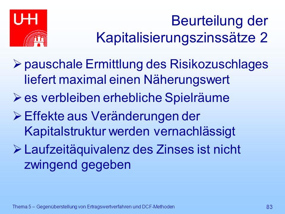 Thema 5 – Gegenüberstellung von Ertragswertverfahren und DCF-Methoden 83 Beurteilung der Kapitalisierungszinssätze 2  pauschale Ermittlung des Risiko