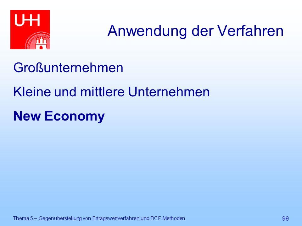 Thema 5 – Gegenüberstellung von Ertragswertverfahren und DCF-Methoden 99 Anwendung der Verfahren Großunternehmen Kleine und mittlere Unternehmen New E