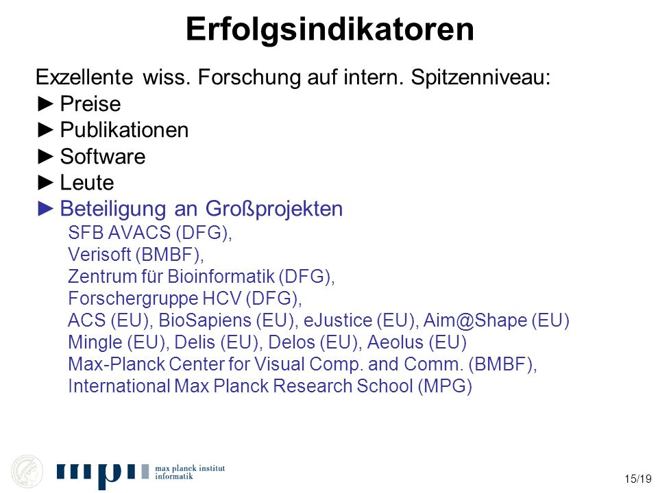 15/19 Erfolgsindikatoren Exzellente wiss. Forschung auf intern.