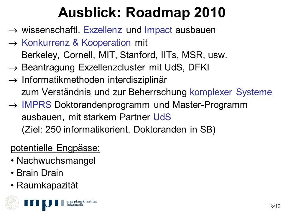 18/19 Ausblick: Roadmap 2010  wissenschaftl. Exzellenz und Impact ausbauen  Konkurrenz & Kooperation mit Berkeley, Cornell, MIT, Stanford, IITs, MSR